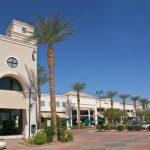 Xeriscaped Outdoor Shopping Mall with clean landscaping
