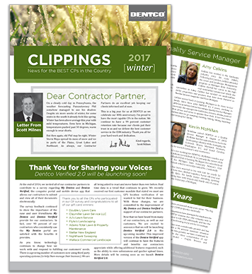 Winter 2017 issue of DENTCO Clippings, a Contractor Partner Newsletter