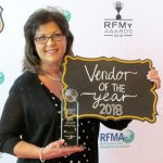 Teresa Phelps, DENTCO National Sales Director with her RFMA 2018 Award for Vendor of the Year